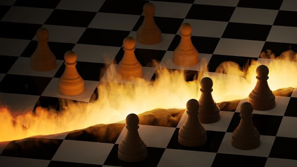 Chess board on fire