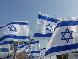 Israeli flags in protest against Gaza terror