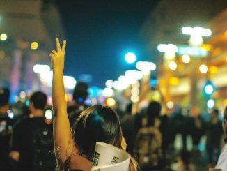 Protester in street