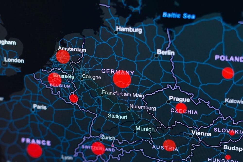 Europe map alert